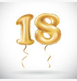 golden number 18 eighteen metallic balloon party vector image