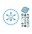Idea Bulb Flat Icon with Bonus vector image