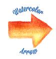 Orange watercolor arrow vector image