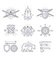 Trendy badges in thin line style vector image