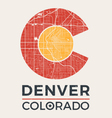 colorado t shirt print with denver city map vector image