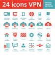 24 icons VPN - Virtual Private Network vector image