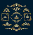 victorian style golden decor elements vector image