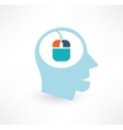 Mouse and head icon Computer addiction concept vector image vector image