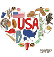 USA symbols in heart shape concept vector image