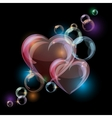 Romantic background with colorful bubble hearts vector image vector image