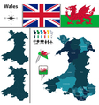 Wales map with regions vector image