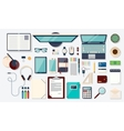Top view elements Desk background with laptop vector image