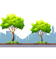 Trees on the pavement with city background vector image