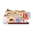 kitchen in pizzeria vector image