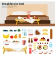Little table with breakfast near the bed vector image