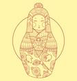 matryoshka japan style hand drawn vector image