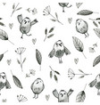 seamless pattern with hand drawn owls and flowers vector image
