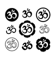 Set of Om or Aum signs isolated on white vector image