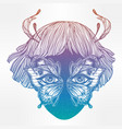 moth girl face with butterfly wings for eyes vector image