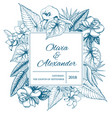 hand drawn floral wedding invitation card vector image