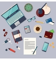 Top view of desk background with laptop digital vector image vector image