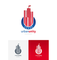 emblem with skyscrapers vector image