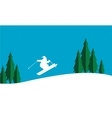 The ski christmas scenery silhouettes vector image