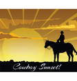 Cowboy silhouette at sunset vector image