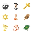Religion icons set cartoon style vector image