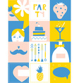Party design elements - set of funny icons vector image