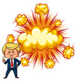 american president trump with explode background vector image