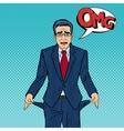 Broke Businessman Showing Empty Pockets Pop Art vector image