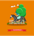 equestrian sport in flat style vector image