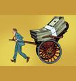 businessman rickshaw transports money vector image