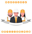 male and female silhouettes of engineers vector image