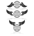 Globe and wings vector image