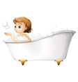 A teenager taking a bath at the bathtub vector image vector image