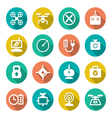 Set flat icons of quadrocopter multicopter drone vector image