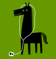 horse with earphones vector image