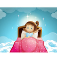 Girl sleeping in bed with sky background vector image vector image