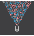 Cellphone and symbols vector image vector image