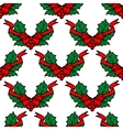 Christmas holly seamless pattern background vector image