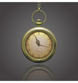 Gold vintage pocket clock on a chain with roman vector image