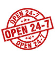 open 24 7 round red grunge stamp vector image