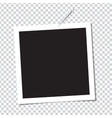 Realistic photo frame on pin vector image