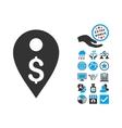 Dollar Map Marker Flat Icon With Bonus vector image