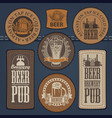 set of leather labels on denim on the theme pub vector image