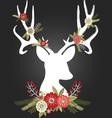Chalkboard Christmas Deer Antlers with Flowers set vector image