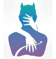 Hand drawn demon in a hug vector image