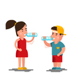 Little boy and girl drinks water Kids drinking vector image