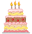 Cake With Three Candles vector image vector image