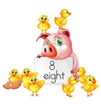 counting number eight with pig and chicks vector image
