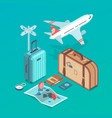 travel set with airplane vector image