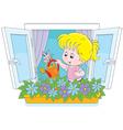 Girl watering flowers vector image vector image
